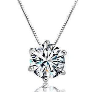 Diamond Solitaire Pendant Six Prong Setting 0.75 C